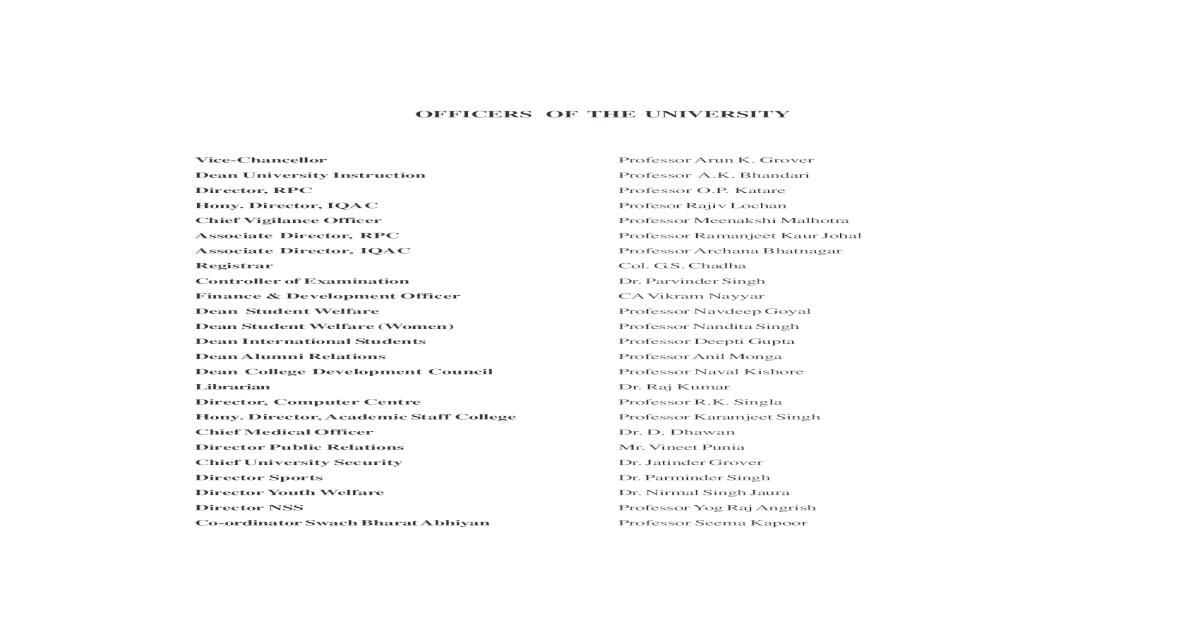 OFFICERS OF THE UNIVERSITY Nanak Sikh Studies 18 7  History