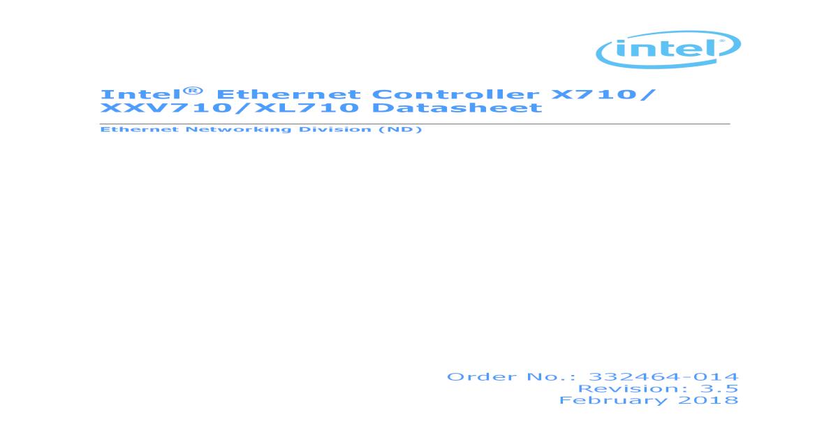 Intel Ethernet Controller 710 Series: Datasheet - [PDF Document]